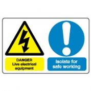 Multiple safety sign - Live Electrical 025